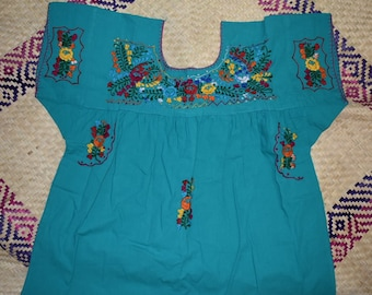 extra large mexican blouse, plus size mexican blouse, embroidered mexican large blouse, cotton turquoise extra large,