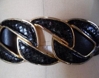 Vintage 1980s Triple Link Snakeskin Buckle Leather Belt
