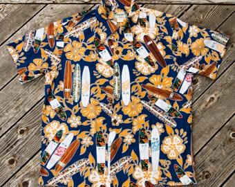 vintage 80s/90s - Blue & Orange Surfboards Hawaiian Aloha Shirt - Kamehameha - Large