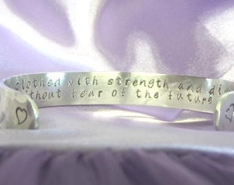 Proverbs 31 Bracelet ~ Gift Idea for her ~ Custom Cuff Bracelet  ~ Personalized Gifts for women ~ Mother Daughter ~ Bible verse