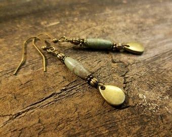 Boho Earrings, 2 inches, Earthy Earrings, Bronze Earrings