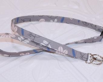 Gray Print Breakaway Safety Lanyard - Badge Holder - Key Lanyard - Teachers Gifts - Cute Key Chain - Lanyard With Id Holder - Id Holder