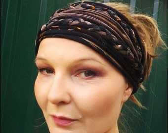 Brown Autumn Headband Head Wrap Yoga Turban Braided Head Scarf Extra Wide Headband Dreadband Head Scarf Gypsy Boho Headband