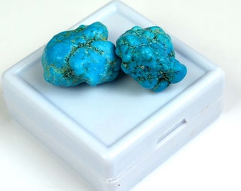 60.60 Ct Natural Arizona Mine Kingman Turquoise Genuine Gemstone Rough Pair
