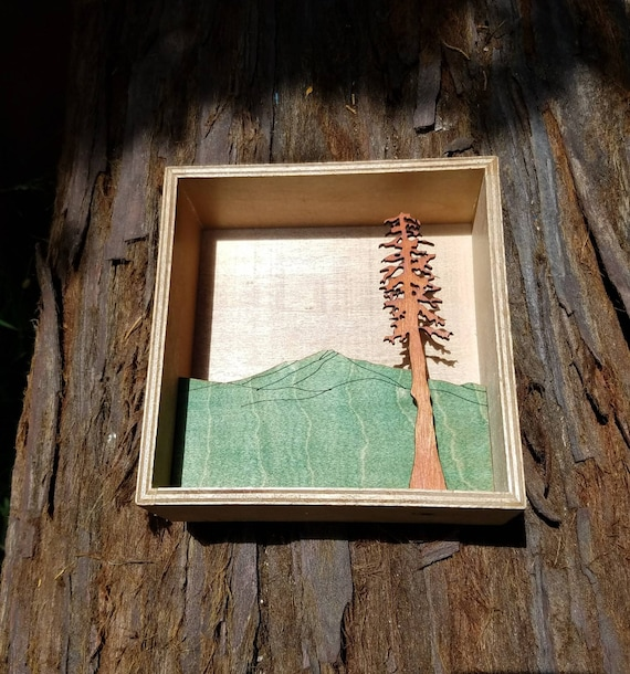 Mt Tamalpais with Redwood Tree Shadowbox - Rustic Northern California Mountain Art
