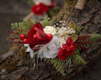 Flower hair comb, floral hair comb