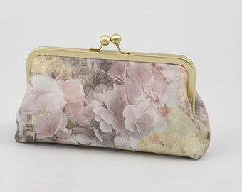 Clutch Bag - Pale Hydrangeas - My Original Design Printed on Dupion Silk - Clutch Bag Lining Can be Personalized with Your Photo or Text