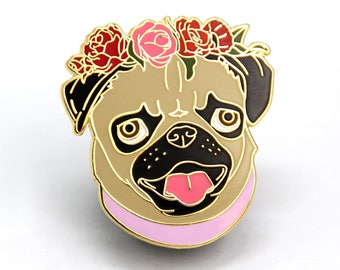 Pug Lover Gift, Enamel Pin, Pug Dog Lover Gift, Pug Enamel Pin, Pin collection, Gift for Dog Lover, Gift for Her, Gift for Him, Flair