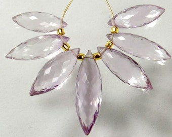 Pink Amethyst Faceted Puff Marquise Briolette Bead (7)
