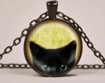 Black Cat Peeking Pendant Necklace or Keyring Glass Art Print Jewelry Charm, Cat Pendant, Cat Necklace, Cat Key Fob