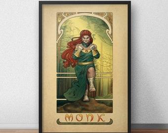 """La Moine - The Monk - 20""""x30"""" Print - Tabletop Nouveau Dungeons and Dragons Pathfinder Art Nouveau"""