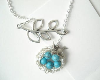 Turquoise Nest Necklace Bird Nest Necklace Bird Lariat Silver Nest Mom Child Necklace Bird Jewelry Birdnest Jewelry