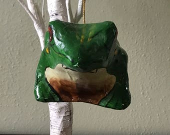Paper Mache Frog Christmas Ornament