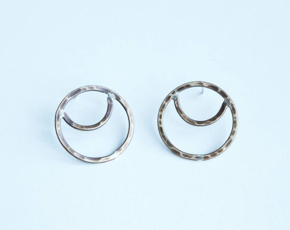Hammere Brass Crescent Earrings