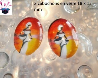 2 cabochons glass 18mm x 13mm bird theme