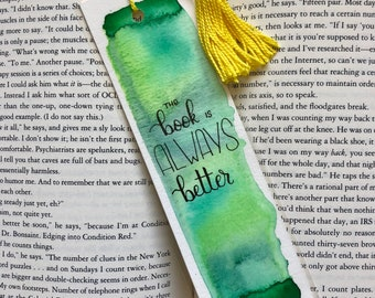 Reader Gift, Watercolour Bookmark, Handmade Bookmark, Book Lover Gift, Bookmark Tassel, Teacher Gifts, Bookworm Gift, Watercolor Bookmark