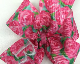 Rose Initial Hairbow, Custom Monogram, Girls Roses, Hair Bows, Embroidered Gift, Boutique Spring, Easter Baby, Preppy Floral, Monogrammed
