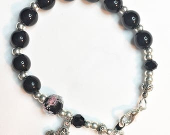 Genuine Onyx Rosary Bracelet with 4 Way Medal, Catholic Rosary Bracelet, Onyx Woman's Bracelet