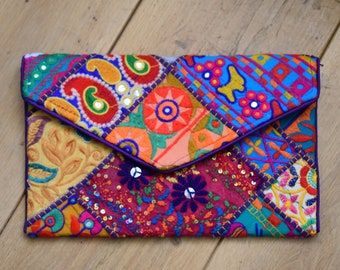 Patchwork Embroidered Clutch
