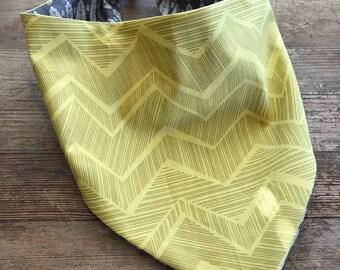 Gold Rush Reversible Dog Bandana, snap/tie on dog bandana