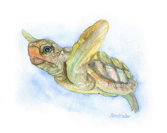 Sea Turtle Watercolor Painting - 14x11 - Giclee Print Reproduction - Wall Art - Ocean Animal