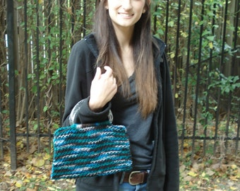 Blue/Brown/Green Knit Purse with Clear Handles and Silver Sparkles