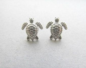 Silver Baby Turtle Stud Earrings, Silver, Sea Turtle Studs, Turtle Earrings
