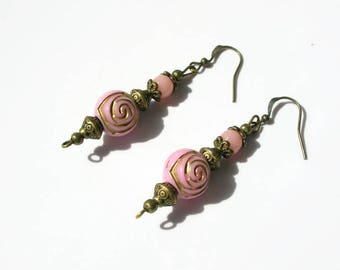 Earrings Asian style bronze look roses