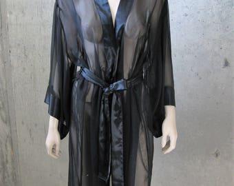 Black Chiffon Organza Kimono Style Robe Negligee Loungewear Boudoir Dressing Gown Pin Up Burlesque Hollywood Noir Vintage SZ M-L