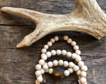 Trio Boho stack Bracelet , wood and African glass bracelet , Brass wood bracelet , Boho Stretch Bracelet , tribal bracelet ,Bone bracelet .