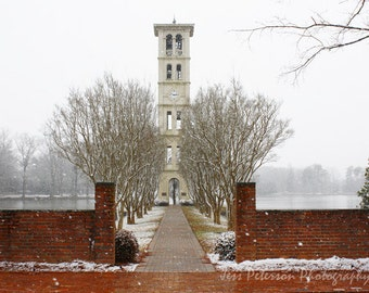 Bell Tower photos. Furman University Greenville SC Prints, Dreamy Winter Snow Photography, Red Snow White Home decor, Furman Graduate Gift