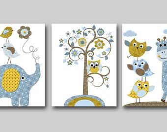 Owl Nursery Elephant Nursery Giraffe Nursery Baby Boy Nursery decor Children Art Print Baby Nursery Print Nursery Print set of 3 blue
