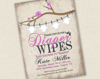 Baby Shower Invitation, Diaper and Wipes Baby Shower Invitation, Rustic Baby Shower Invitation, Girl Baby Shower Invitation, Baby Shower