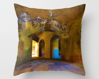 Indoor / Outdoor Decorative Throw Pillow Colorful Architecture 16X16 IN.