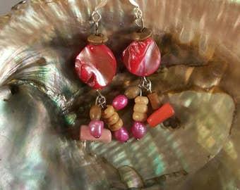 Fuchsia Shell Earrings
