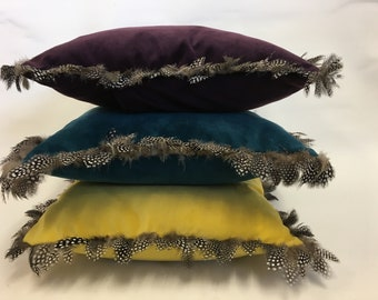Luxurious velvet cushion trimmed with real feathers