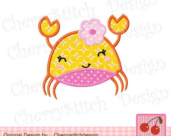 """Crab with flower Machine Embroidery Applique Design- 4x4 5x5 6x6"""""""