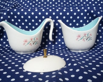 1950s Sugar and Creamer Set - White & Teal with Floral Pattern