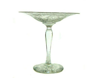 Antique Pairpoint Intaglio Cut Glass Shallow Tazza Compote
