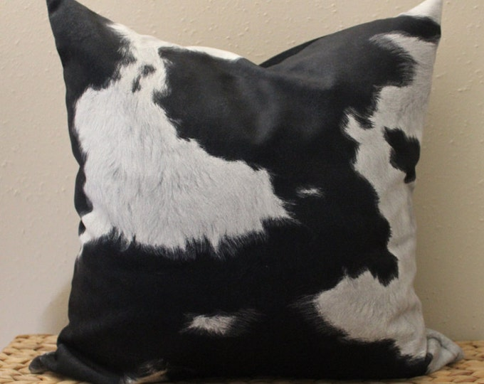 DISCONTINUED - black and gray faux cowhide pillow