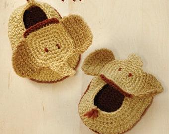 Elephant Baby Booties Crochet Pattern Elephant Preemie Newborn Socks Animal Shoes Elephant Baby Slippers Elephant Applique (EB01-B-PAT)