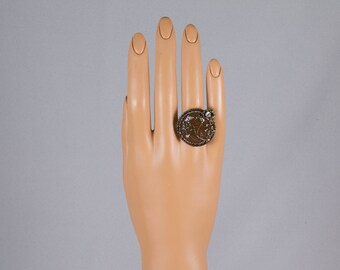 Dinner Ring Statement Ring Antiqued brass Round shape Flowers and leaves Amber enamel 3 Rhinestones Adjustable Pristine