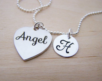 Angel Charm - Personalized Necklace - Custom Initial Necklace - Silver Necklace - Initial Jewelry - Monogram Necklace - Gift for Her