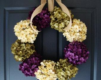 Hydrangea Wreaths | Spring Wreaths | Front Door Wreaths | Wreath | Outdoor Wreath | Entryway Decor | Summer Door Wreath | Housewarming Gift