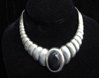 Large Black Stone Vintage Mexican Silver Necklace