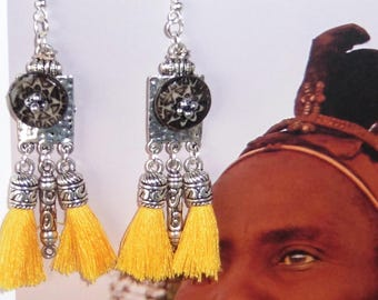 """Unique silver and cold porcelain """"donuts"""" earrings in ethnic style"""