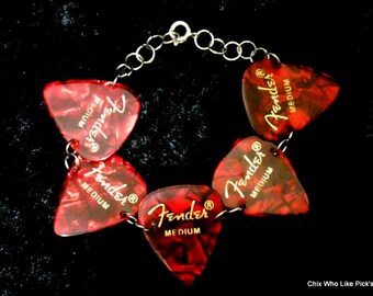 7.5 Medium Red Pearl Fender guitar pick bracelet