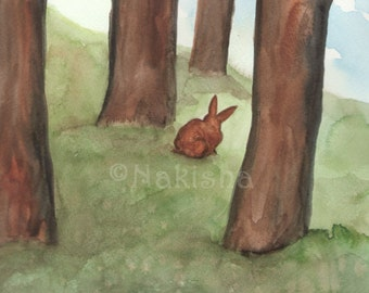 Original Art - The Four of Rabbits - Watercolor Rabbit Painting -The Badgers Forest Tarot