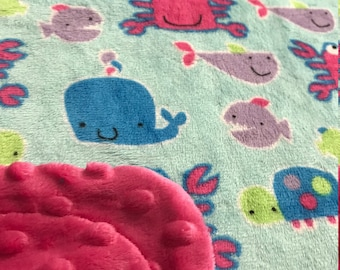Minky Blanket Under the Sea Print Minky with Pink Dimple Dot Minky Backing - Perfect Size for a Baby or Toddler
