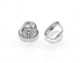 Earring Back For Sale, Earring Back, Earring For Sale, Earnuts, 1 Pair 14K White Gold Replacement Screw On Screw Off Earnut Earring Back